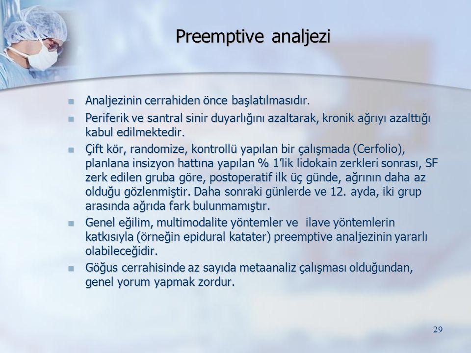Preemptive analjezi Analjezinin cerrahiden önce başlatılmasıdır.