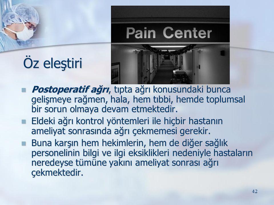 Öz eleştiri Postoperatif ağrı, tıpta ağrı konusundaki bunca gelişmeye rağmen, hala, hem tıbbi, hemde toplumsal bir sorun olmaya devam etmektedir.