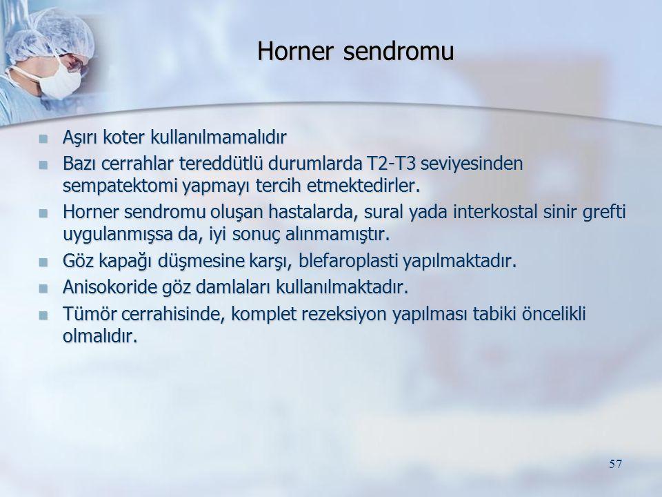 Horner sendromu Aşırı koter kullanılmamalıdır