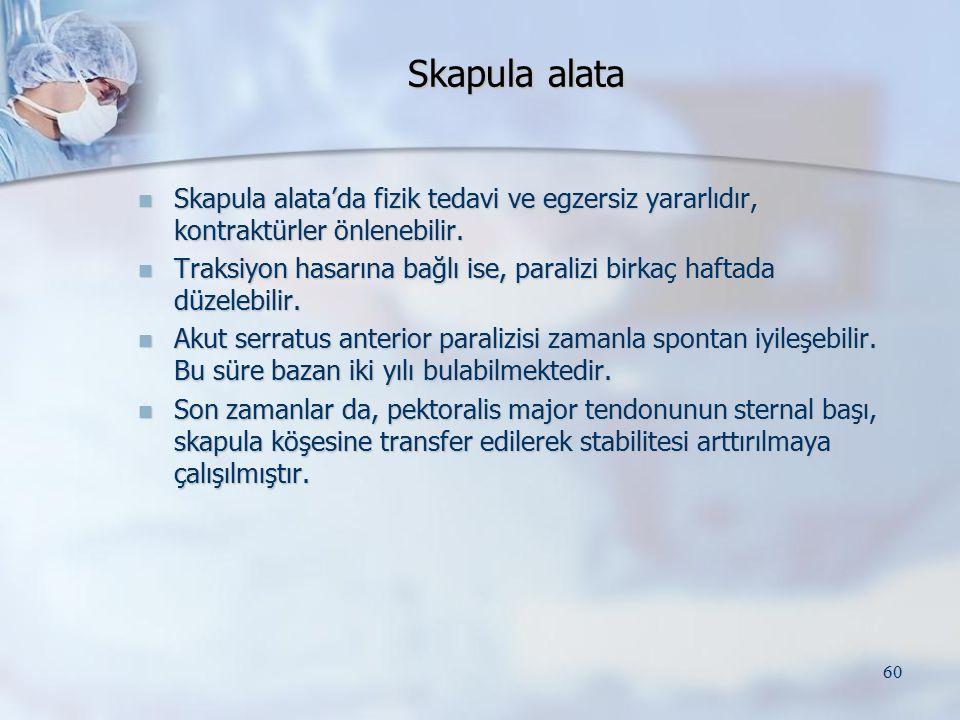 Skapula alata Skapula alata'da fizik tedavi ve egzersiz yararlıdır, kontraktürler önlenebilir.