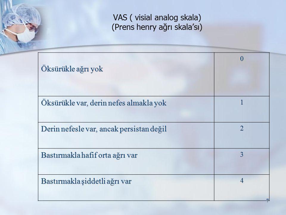 VAS ( visial analog skala) (Prens henry ağrı skala'sı)