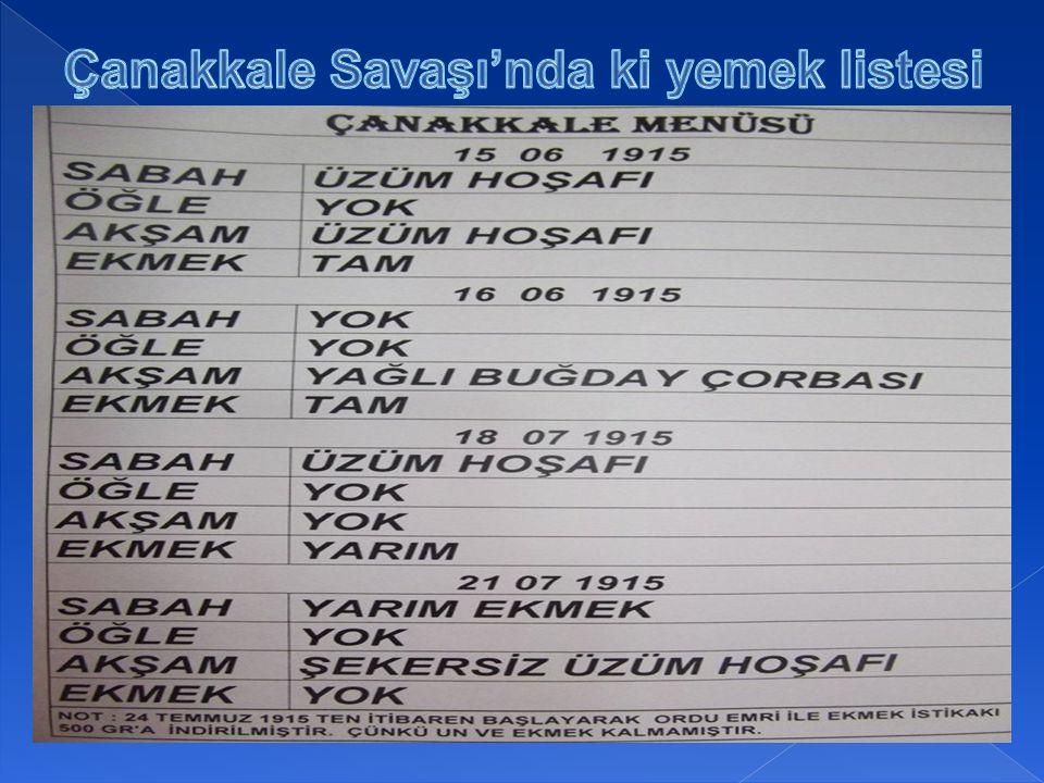Çanakkale Savaşı'nda ki yemek listesi