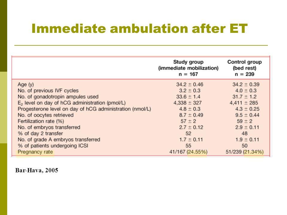 Immediate ambulation after ET