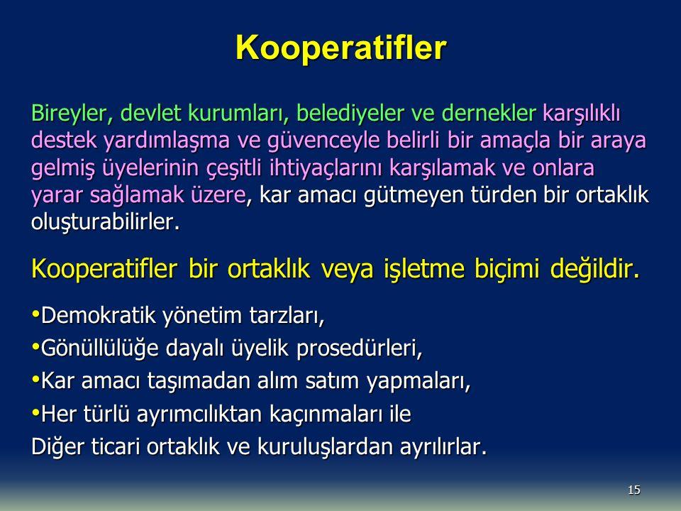 Kooperatifler Kooperatifler bir ortaklık veya işletme biçimi değildir.