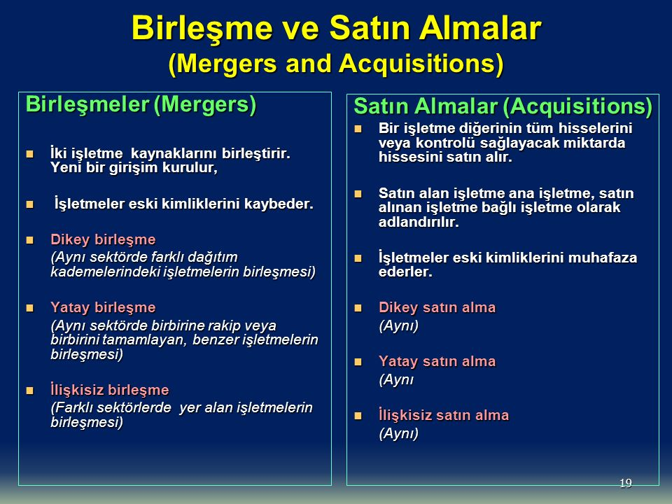Birleşme ve Satın Almalar (Mergers and Acquisitions)