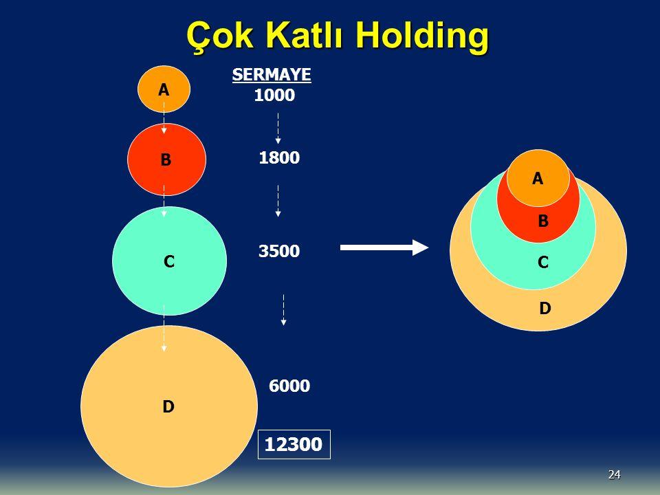 Çok Katlı Holding 12300 SERMAYE A 1000 B 1800 A B C D B C 3500 C D D