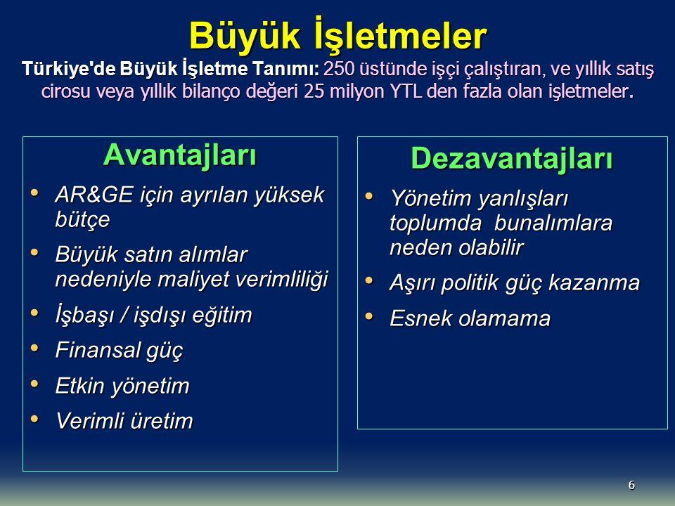 Büyük İşletmeler Türkiye de Büyük İşletme Tanımı: 250 üstünde işçi çalıştıran, ve yıllık satış cirosu veya yıllık bilanço değeri 25 milyon YTL den fazla olan işletmeler.