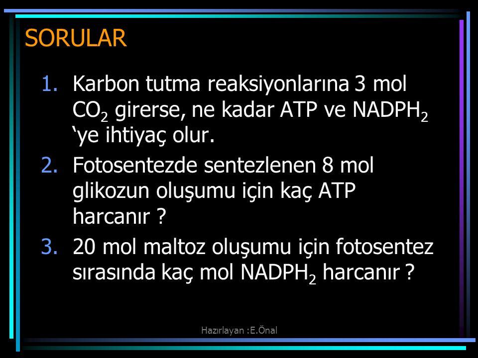 SORULAR Karbon tutma reaksiyonlarına 3 mol CO2 girerse, ne kadar ATP ve NADPH2 'ye ihtiyaç olur.