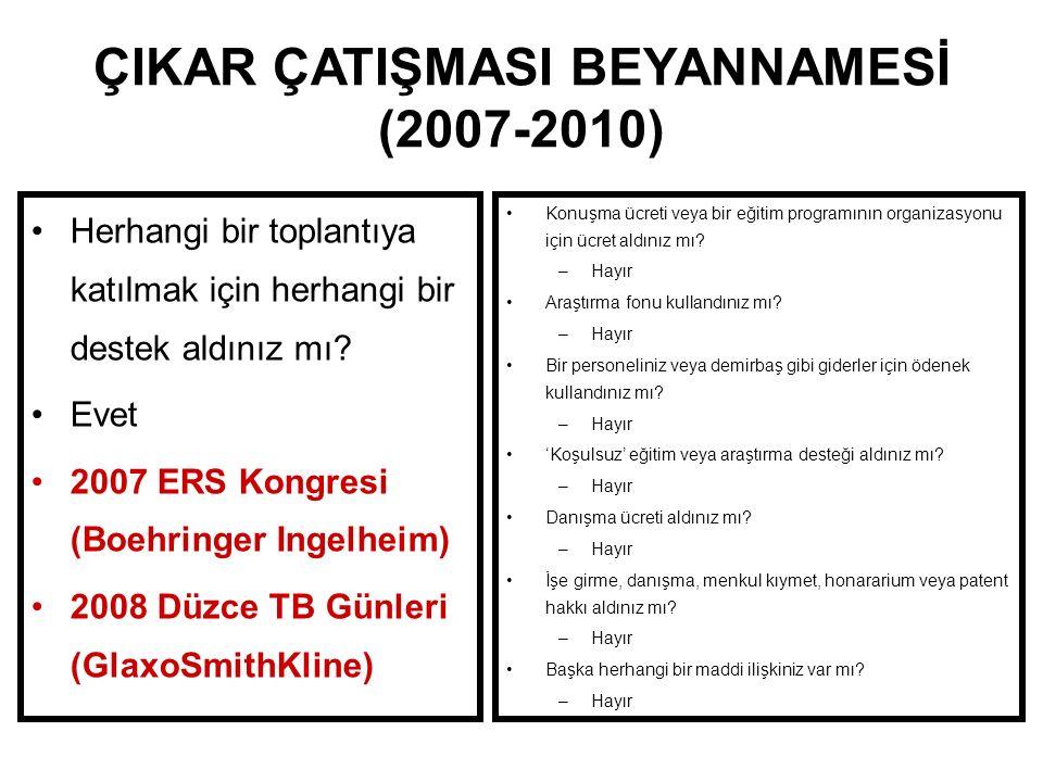 ÇIKAR ÇATIŞMASI BEYANNAMESİ (2007-2010)
