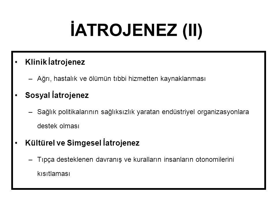 İATROJENEZ (II) Klinik İatrojenez Sosyal İatrojenez