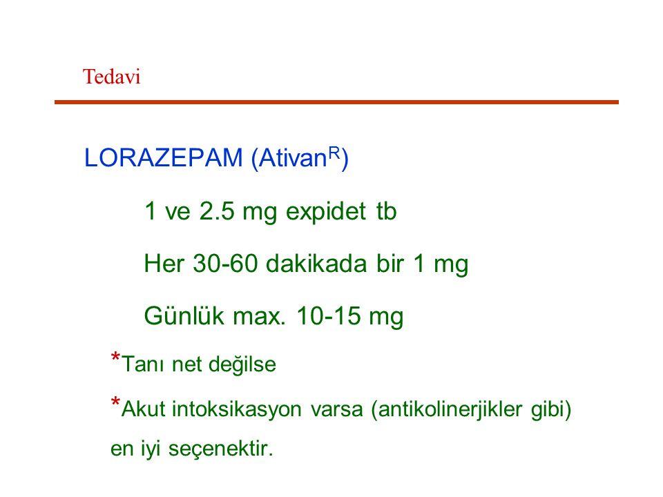 LORAZEPAM (AtivanR) 1 ve 2.5 mg expidet tb Her 30-60 dakikada bir 1 mg