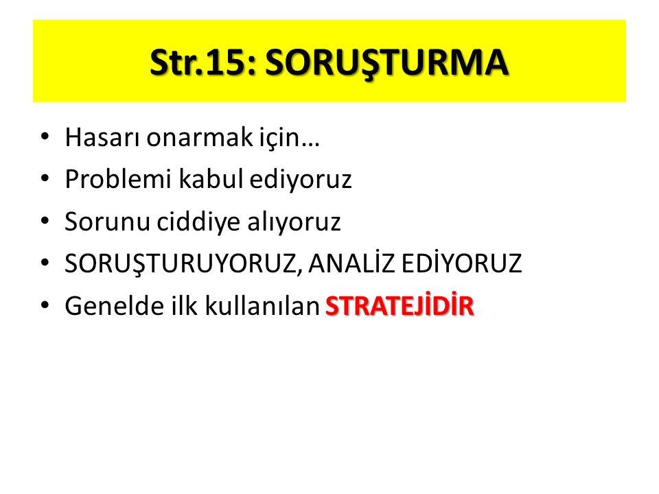 Str.15: SORUŞTURMA Hasarı onarmak için… Problemi kabul ediyoruz