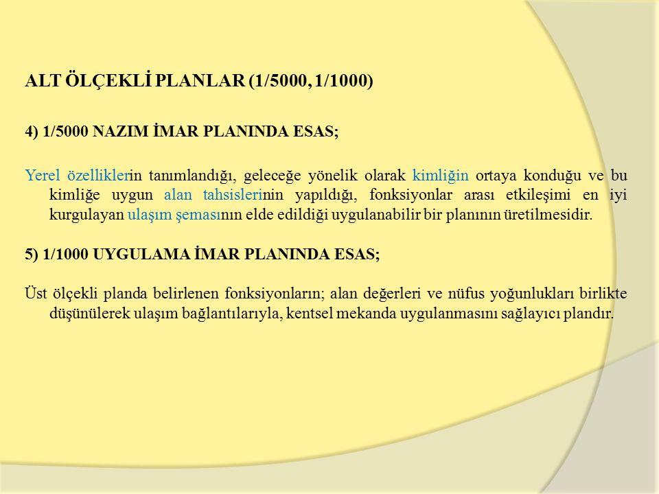 ALT ÖLÇEKLİ PLANLAR (1/5000, 1/1000)