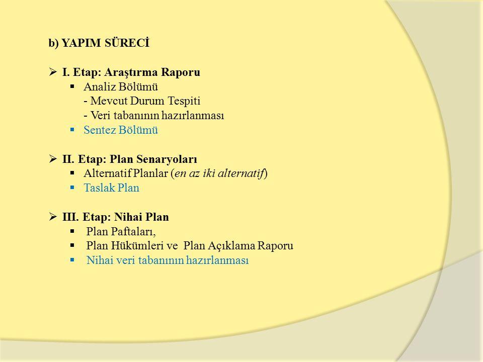 b) YAPIM SÜRECİ I. Etap: Araştırma Raporu. Analiz Bölümü. - Mevcut Durum Tespiti. - Veri tabanının hazırlanması.