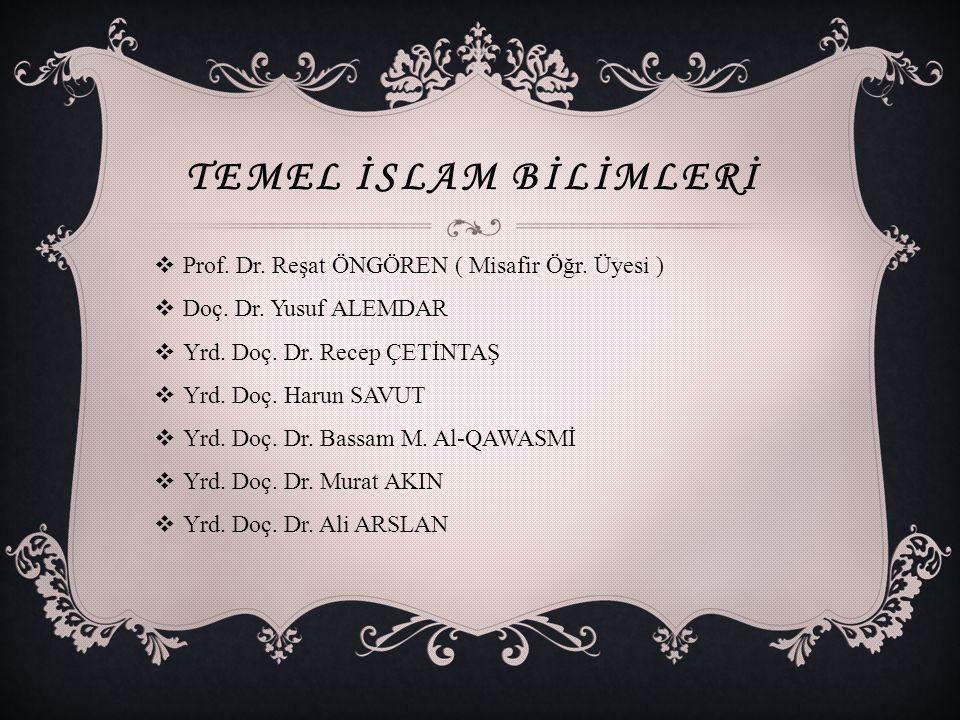 Temel İslam Bİlİmlerİ Prof. Dr. Reşat ÖNGÖREN ( Misafir Öğr. Üyesi )