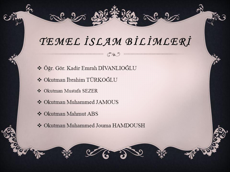 Temel İslam Bİlİmlerİ Öğr. Gör. Kadir Emrah DİVANLIOĞLU