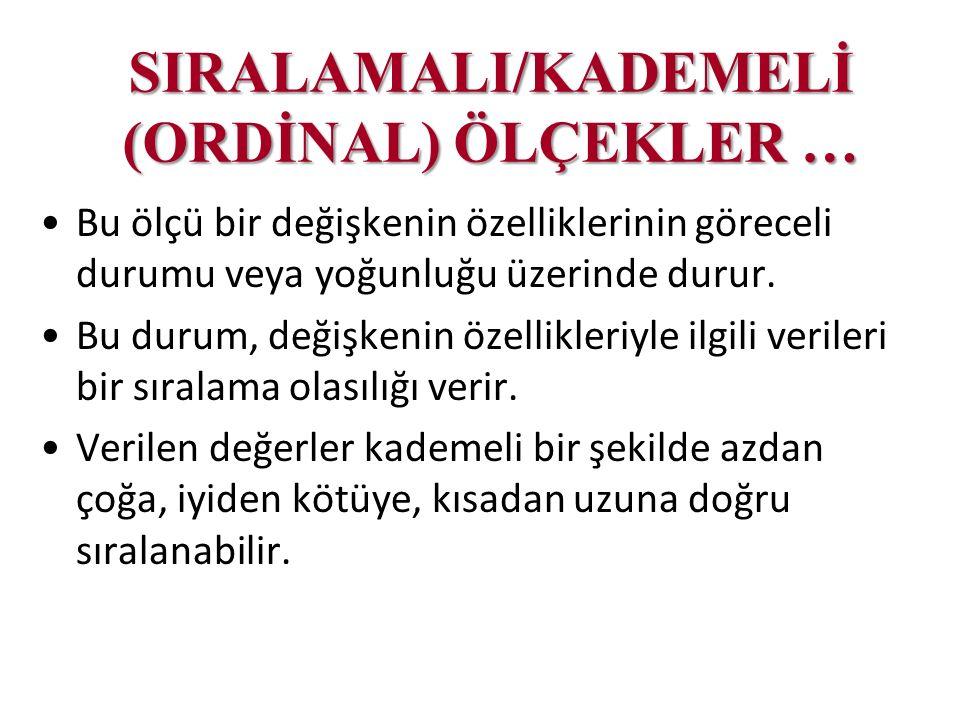 SIRALAMALI/KADEMELİ (ORDİNAL) ÖLÇEKLER …