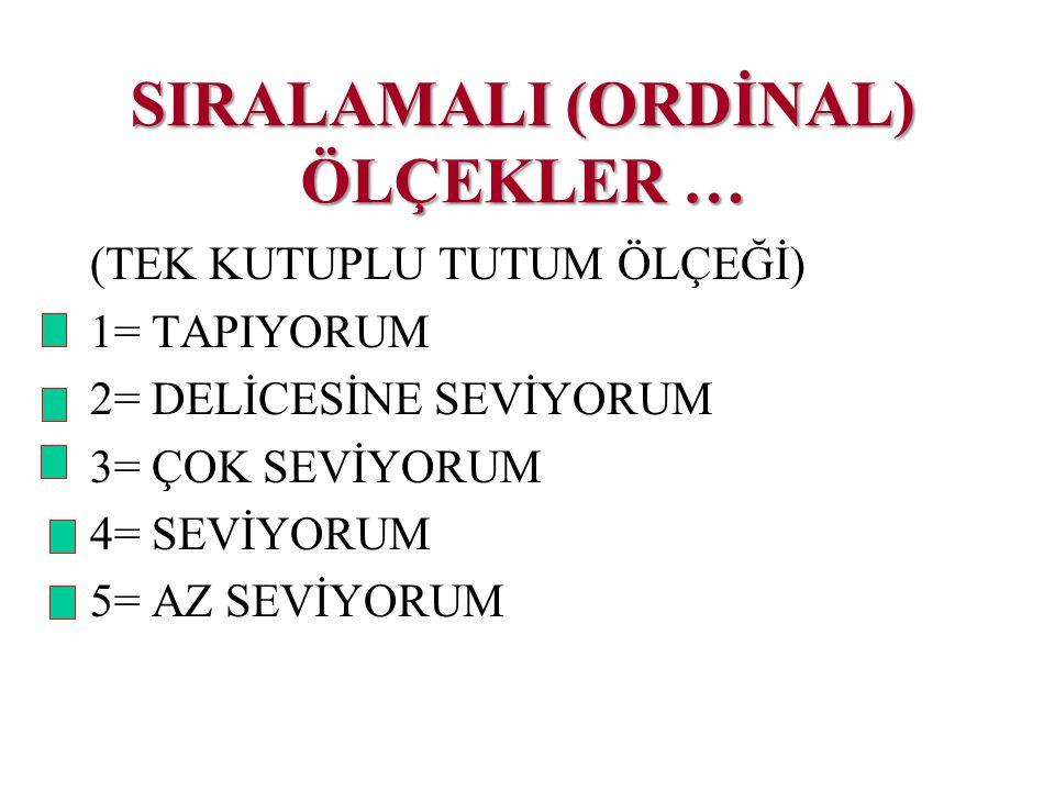 SIRALAMALI (ORDİNAL) ÖLÇEKLER …