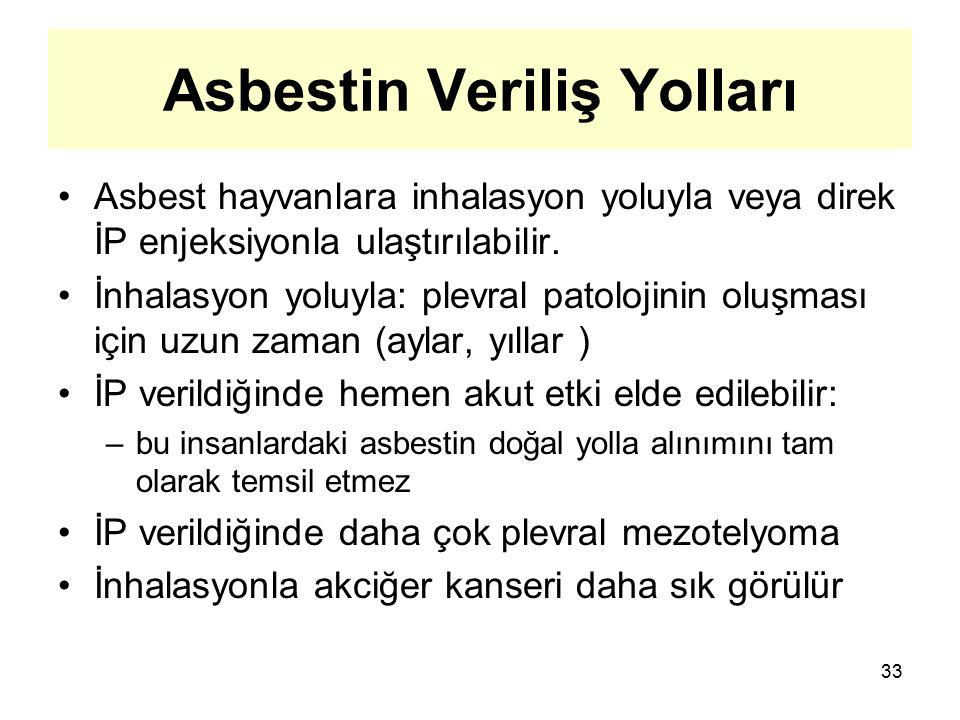 Asbestin Veriliş Yolları