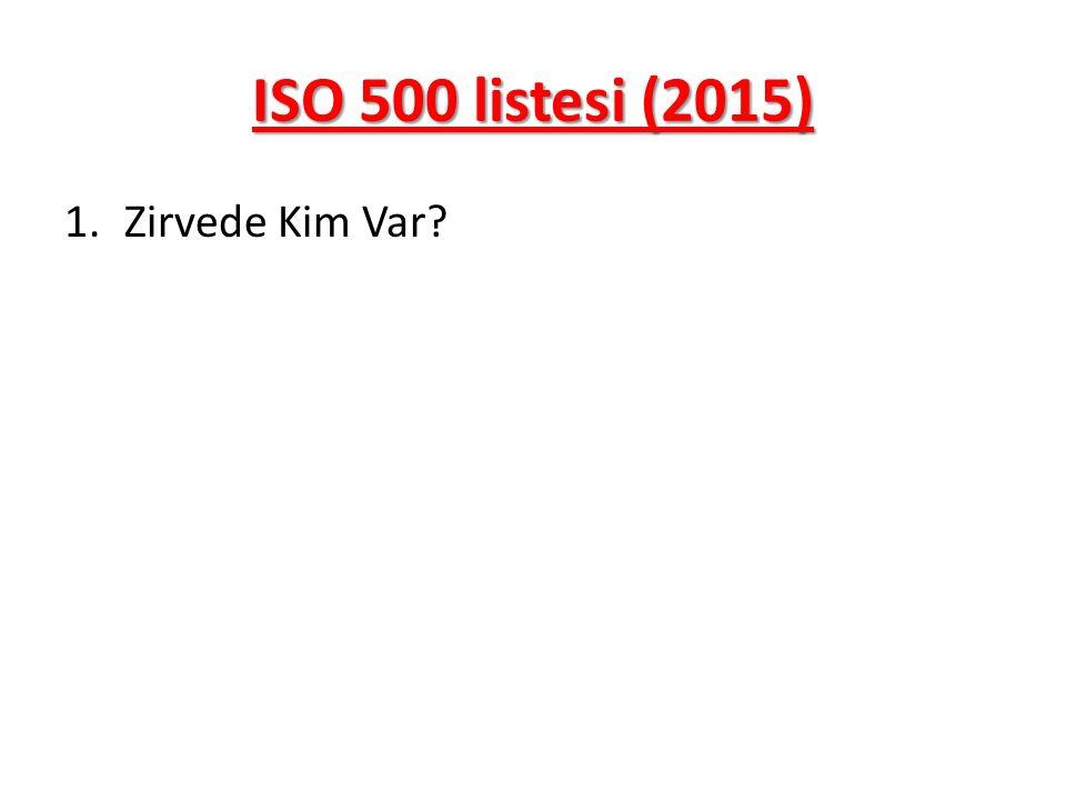 ISO 500 listesi (2015) Zirvede Kim Var