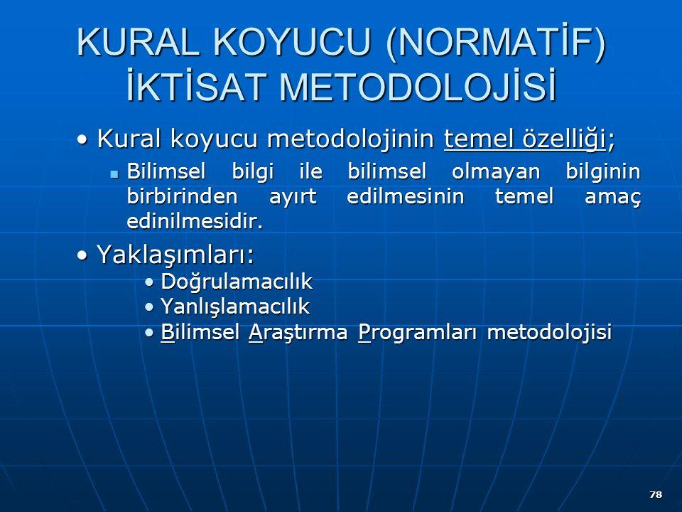 KURAL KOYUCU (NORMATİF) İKTİSAT METODOLOJİSİ