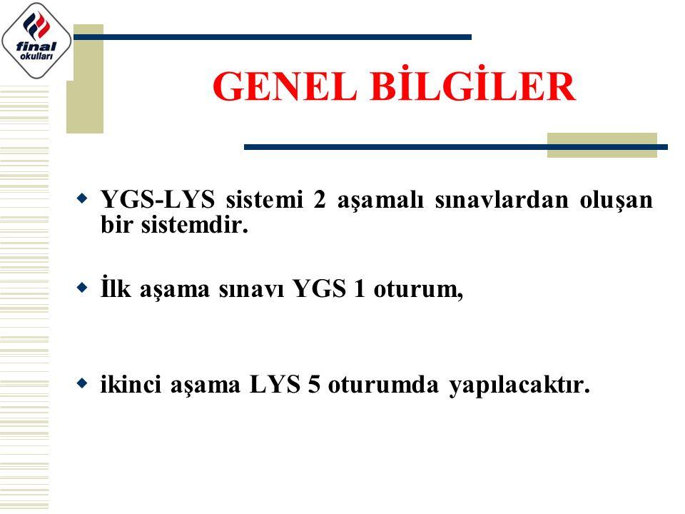 GENEL BİLGİLER YGS-LYS sistemi 2 aşamalı sınavlardan oluşan bir sistemdir. İlk aşama sınavı YGS 1 oturum,