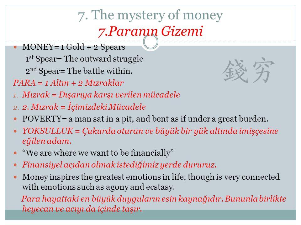 7. The mystery of money 7.Paranın Gizemi