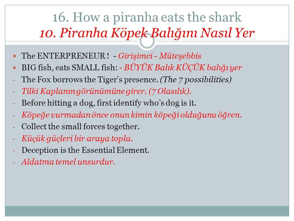 16. How a piranha eats the shark 10. Piranha Köpek Balığını Nasıl Yer