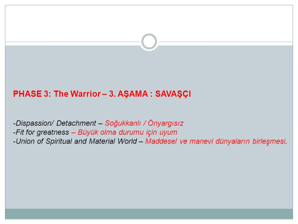 PHASE 3: The Warrior – 3. AŞAMA : SAVAŞÇI