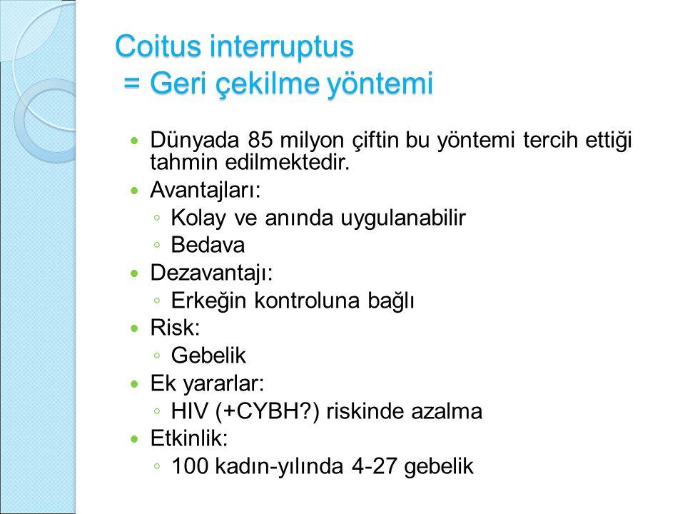 Coitus interruptus = Geri çekilme yöntemi