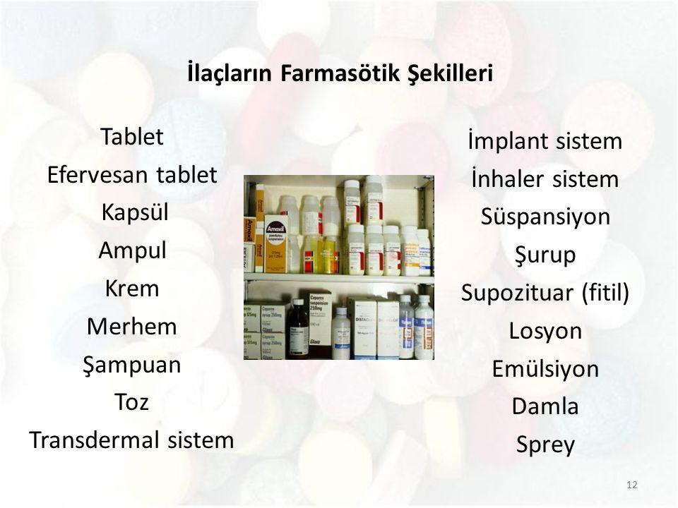 İlaçların Farmasötik Şekilleri