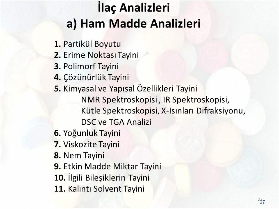 İlaç Analizleri a) Ham Madde Analizleri