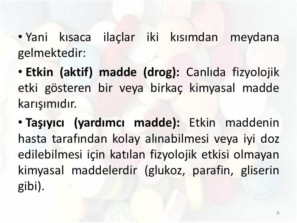 Yani kısaca ilaçlar iki kısımdan meydana gelmektedir: