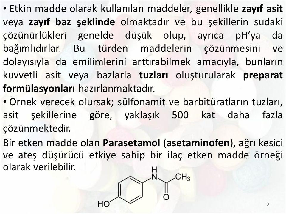 Etkin madde olarak kullanılan maddeler, genellikle zayıf asit veya zayıf baz şeklinde olmaktadır ve bu şekillerin sudaki çözünürlükleri genelde düşük olup, ayrıca pH'ya da bağımlıdırlar. Bu türden maddelerin çözünmesini ve dolayısıyla da emilimlerini arttırabilmek amacıyla, bunların kuvvetli asit veya bazlarla tuzları oluşturularak preparat formülasyonları hazırlanmaktadır.