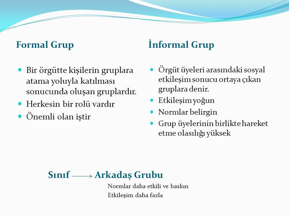 Formal Grup İnformal Grup Sınıf Arkadaş Grubu