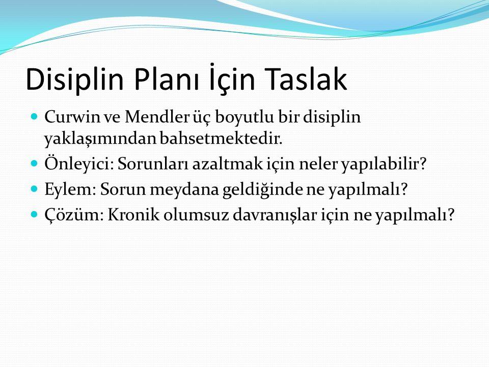 Disiplin Planı İçin Taslak