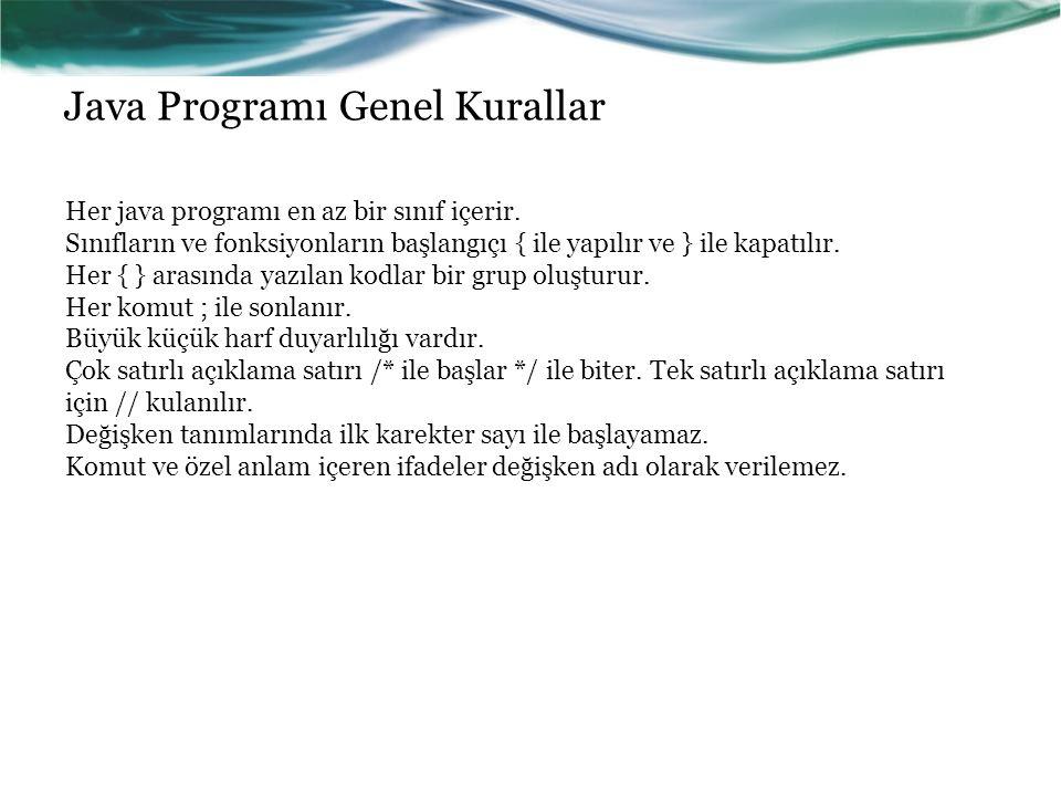 Java Programı Genel Kurallar