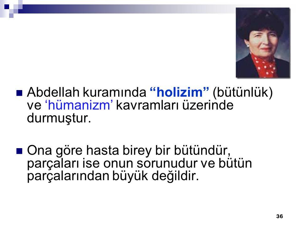 Abdellah kuramında holizim (bütünlük) ve 'hümanizm' kavramları üzerinde durmuştur.
