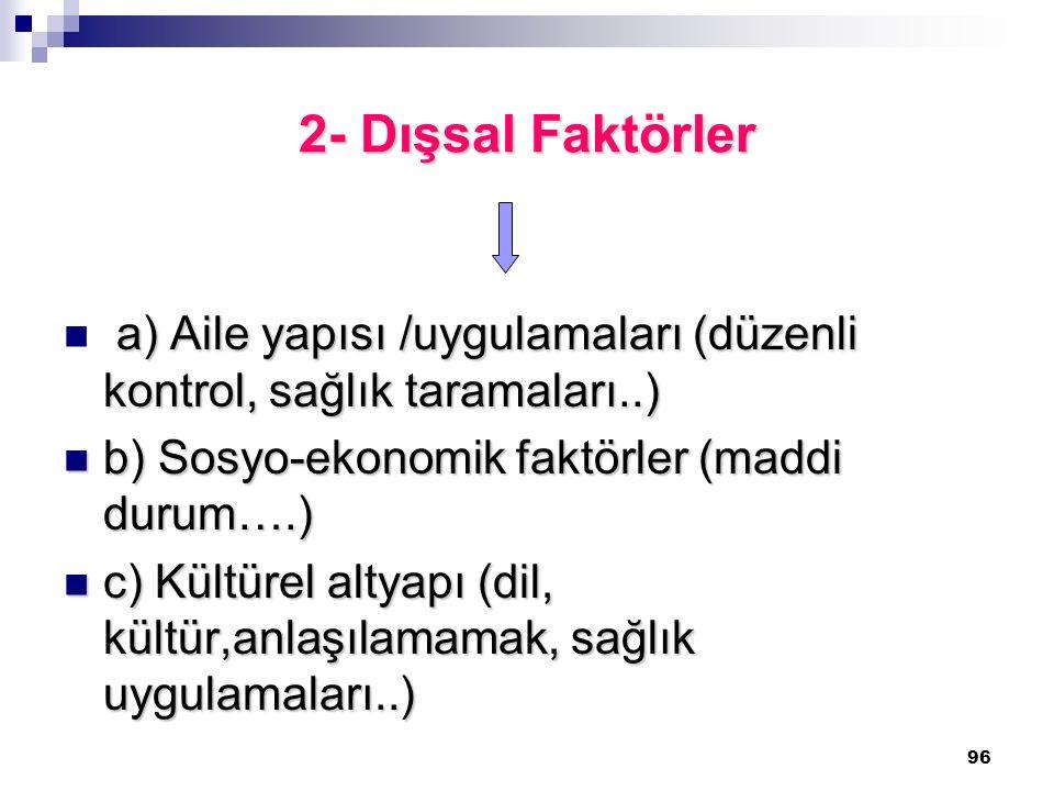 2- Dışsal Faktörler a) Aile yapısı /uygulamaları (düzenli kontrol, sağlık taramaları..) b) Sosyo-ekonomik faktörler (maddi durum….)