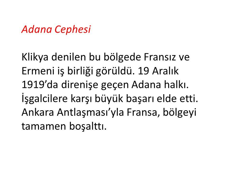 Adana Cephesi Klikya denilen bu bölgede Fransız ve Ermeni iş birliği görüldü.
