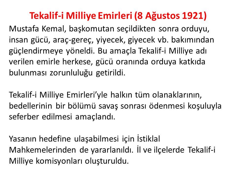 Tekalif-i Milliye Emirleri (8 Ağustos 1921)