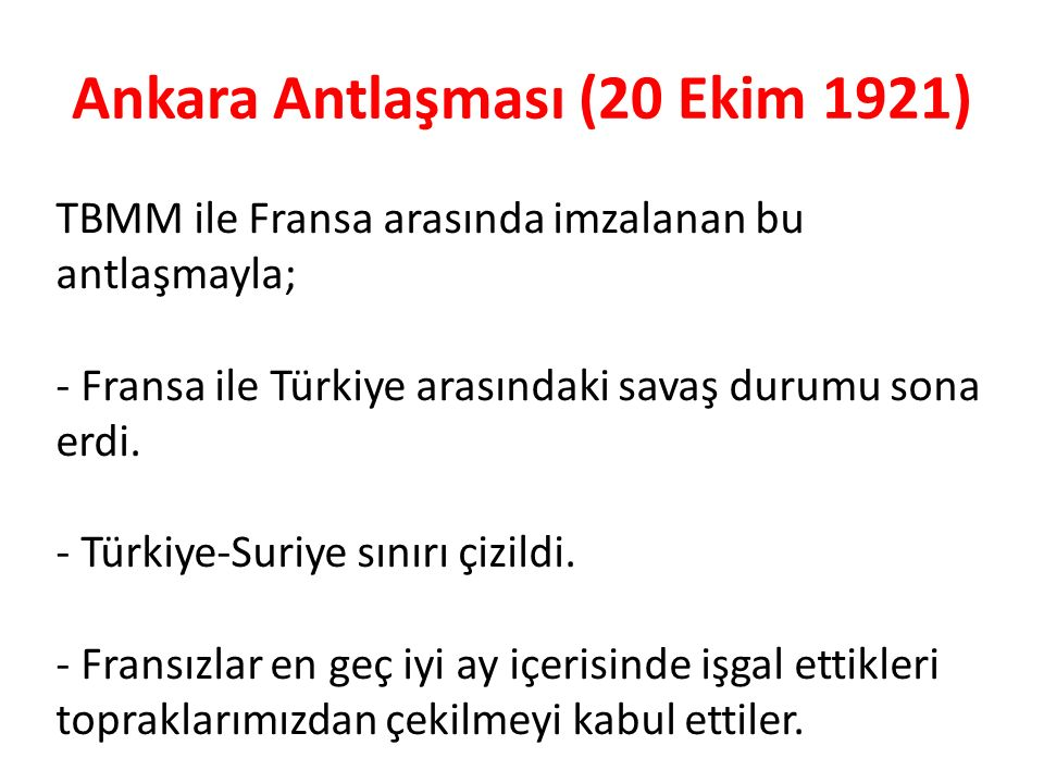 Ankara Antlaşması (20 Ekim 1921)