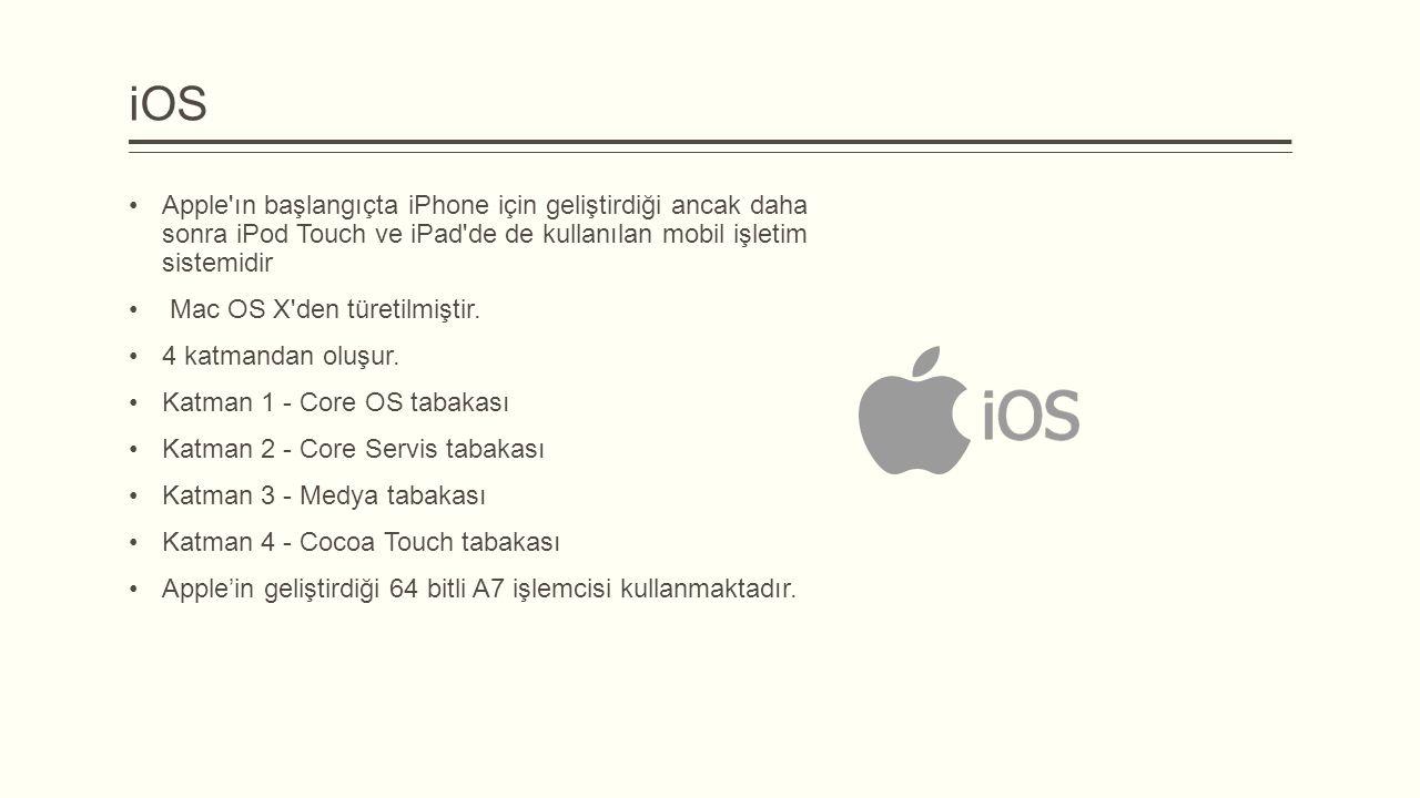 iOS Apple ın başlangıçta iPhone için geliştirdiği ancak daha sonra iPod Touch ve iPad de de kullanılan mobil işletim sistemidir.
