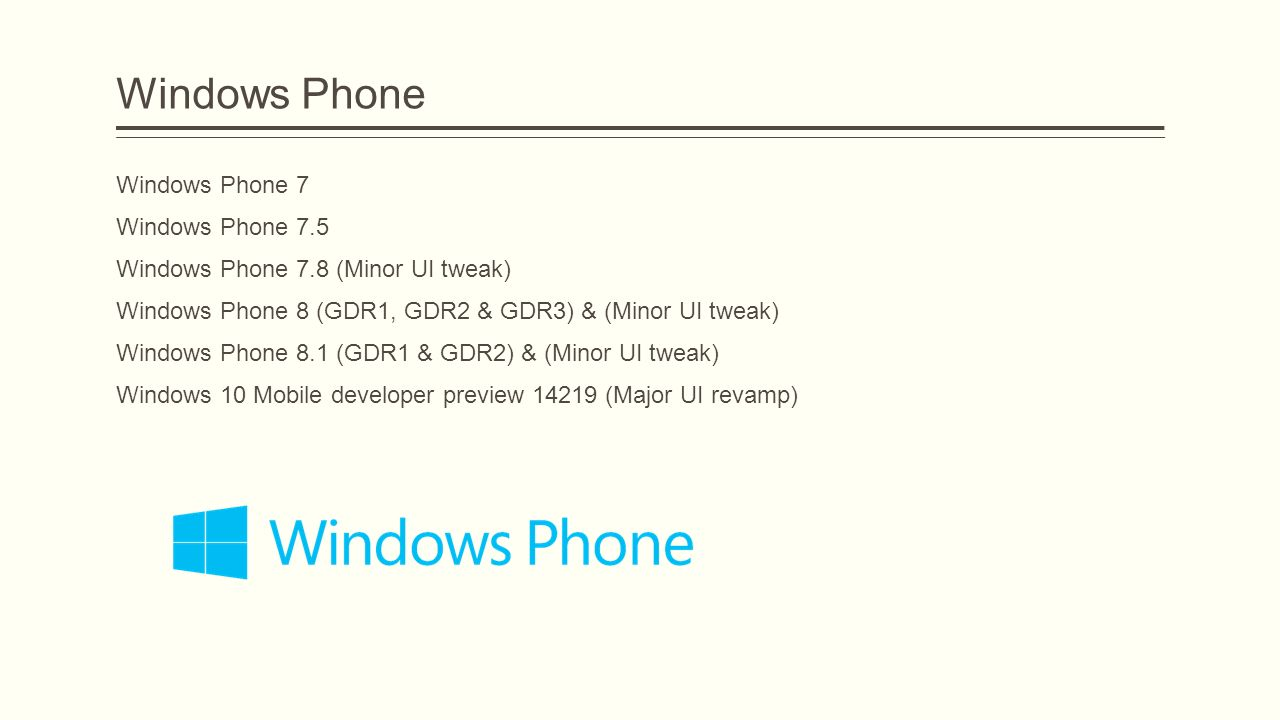 Windows Phone Windows Phone 7 Windows Phone 7.5