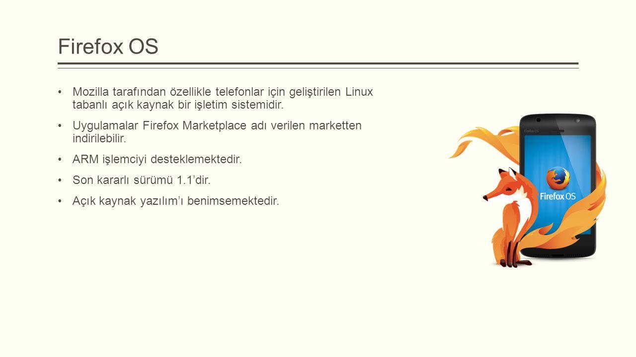 Firefox OS Mozilla tarafından özellikle telefonlar için geliştirilen Linux tabanlı açık kaynak bir işletim sistemidir.