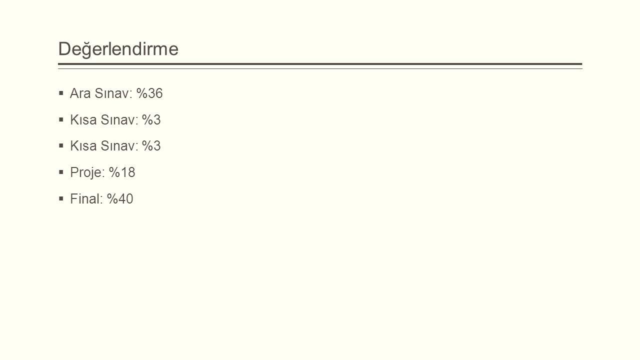 Değerlendirme Ara Sınav: %36 Kısa Sınav: %3 Proje: %18 Final: %40