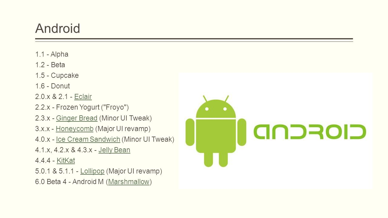 Android 1.1 - Alpha 1.2 - Beta 1.5 - Cupcake 1.6 - Donut
