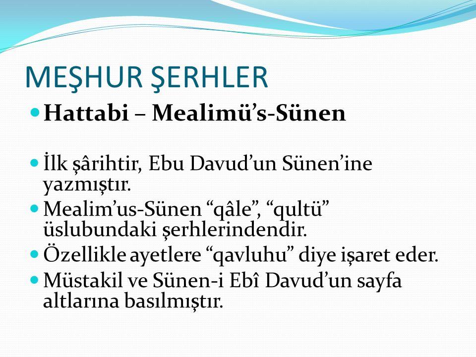 MEŞHUR ŞERHLER Hattabi – Mealimü's-Sünen