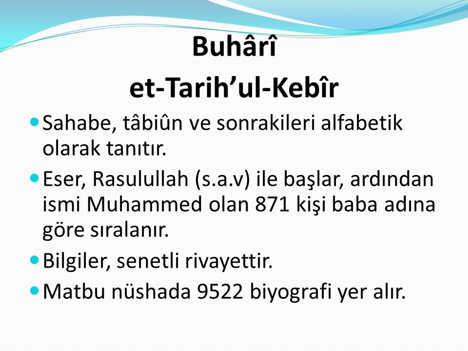 Buhârî et-Tarih'ul-Kebîr
