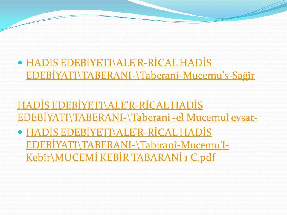 HADİS EDEBİYETI\ALE R-RİCAL HADİS EDEBİYATI\TABERANI-\Taberani-Mucemu s-Sağîr
